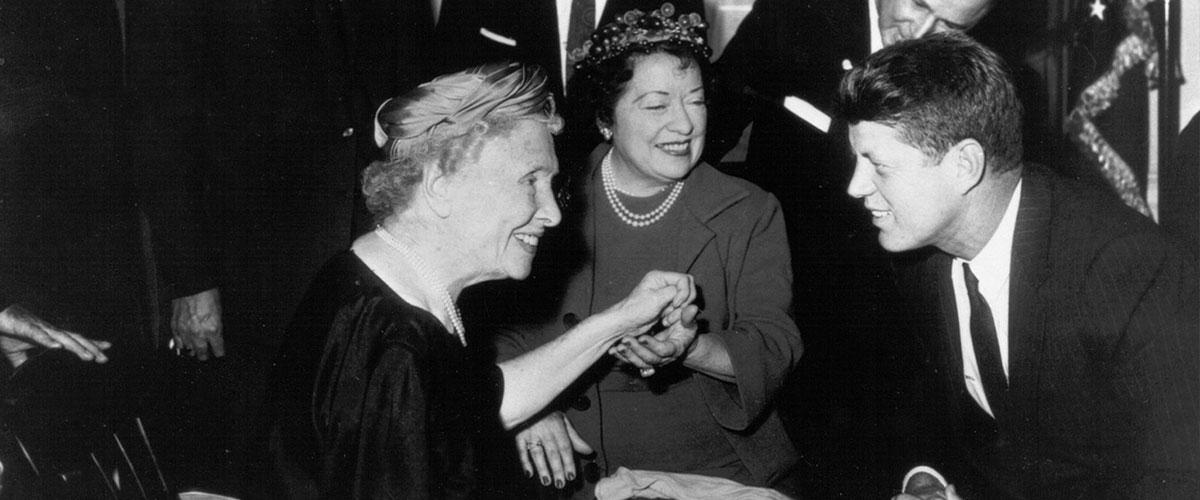 Helen Keller with John F. Kennedy